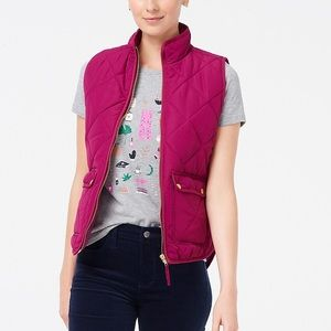 NWT J. Crew Quilted Puffer Vest, pink, sz M